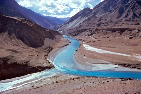 Framed India, Ladakh, Indus and Zanskar Rivers merge Print