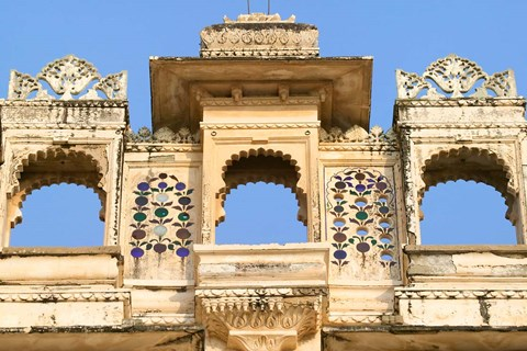 Framed Architectual detail on City Palace, Udaipur, Rajasthan, India Print