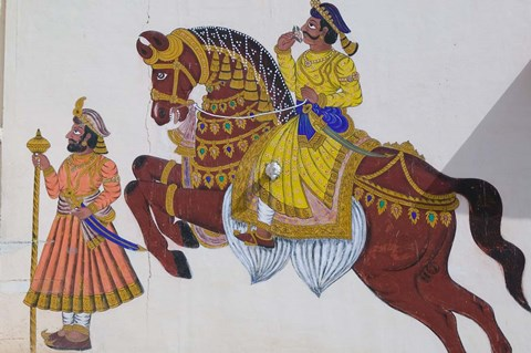 Framed Wall Mural of horse and rider in the City Palace, Rajasthan, India Print