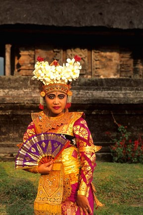 Framed Bride in Traditional Dress in Ulur Danu Temple, Lake Bratan, Bali, Indonesia Print