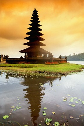 Framed Religious Ulur Danu Temple in Lake Bratan, Bali, Indonesia Print