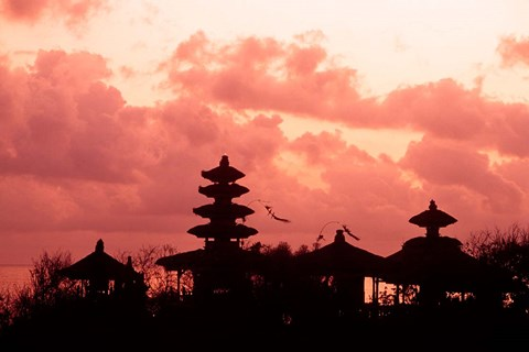 Framed Sunset at the Temple by the Sea, Tenah Lot, Bali, Indonesia Print