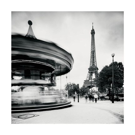 Framed Merry Go Round, Study 1, Paris, France Print