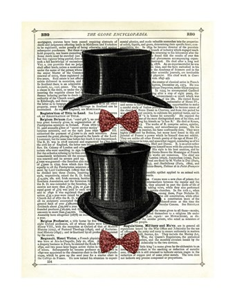 Framed Top Hat & Bow Ties Print