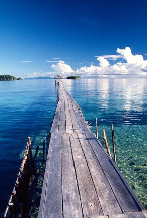 Framed Wooden Jetty Extending off Kadidiri Island, Togian Islands, Sulawesi Print