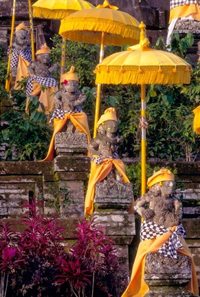 Framed Statues at Mother Temple Adorned in Yellow, Indonesia Print