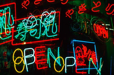 Framed Neon Signs For Sale in Dotombori District Market, Osaka, Japan Print