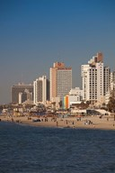 Israel, Tel Aviv, beachfront hotels, late afternoon  Fine Art Print