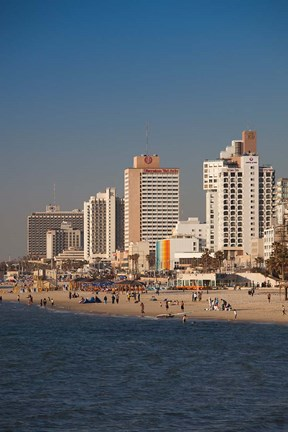Framed Israel, Tel Aviv, beachfront hotels, late afternoon Print