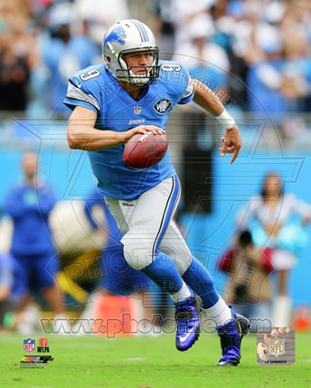Framed Matthew Stafford Football Run Print