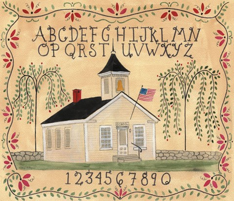 Framed American School House ABC Sampler Print