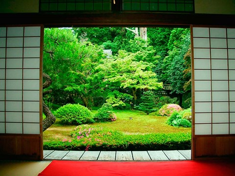 Framed Traditional Architecture and Zen Garden, Kyoto, Japan Print