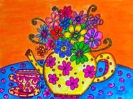 Tea Pot Of Flowers  Fine Art Print