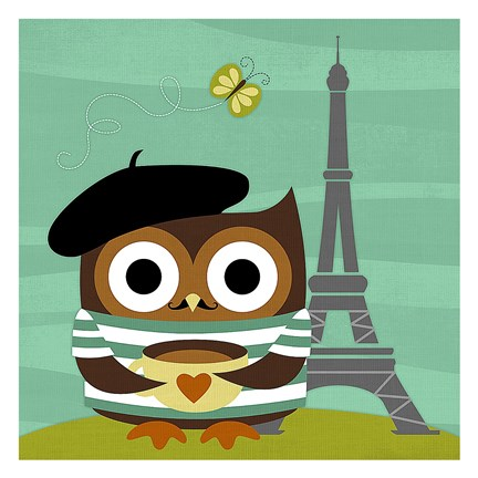 Framed Owl in Paris Print
