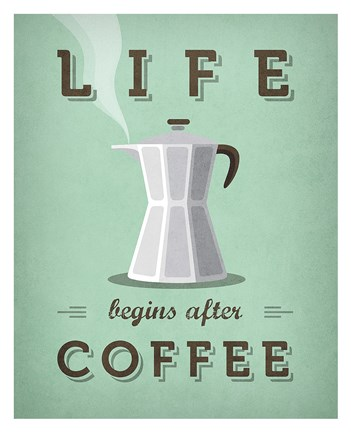 Framed Life Begins after Coffee Print