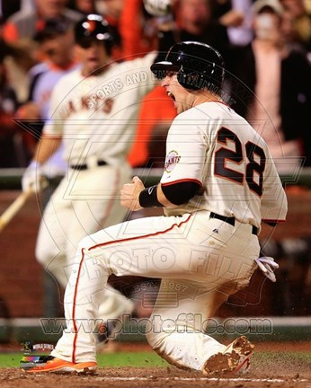 Framed Buster Posey Game 4 of the 2014 World Series Action Print