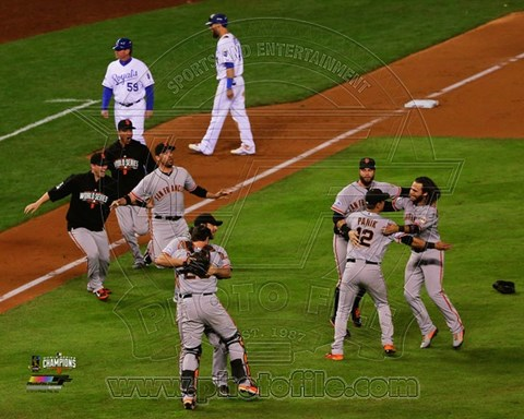 Framed San Francisco Giants celebrate winning Game 7  the 2014 World Series Print