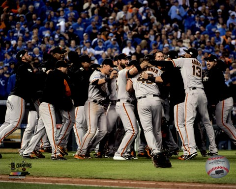 Framed San Francisco Giants celebrate winning Game 7 of the 2014 World Series Print