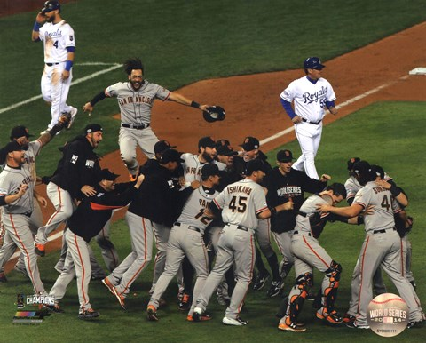 Framed San Fran Giants celebrate winning Game 7 2014 World Series Print