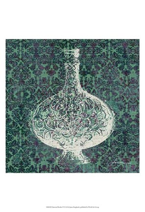 Framed Patterned Bottles IV Print