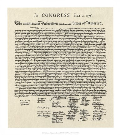Framed Declaration of Independence Doc. Print