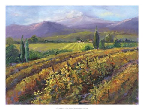 Framed Vineyard Tapestry I Print