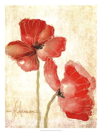 Framed Vivid Red Poppies IV Print