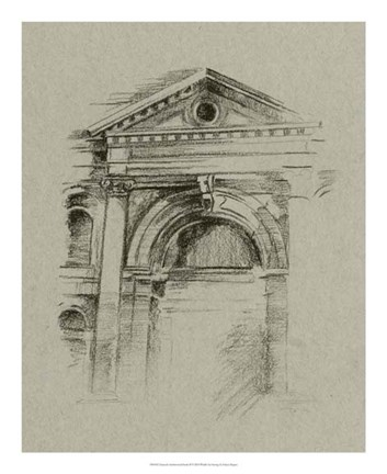 Framed Charcoal Architectural Study II Print