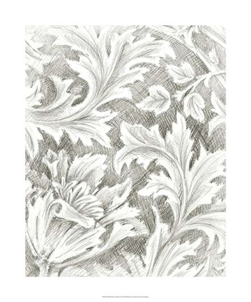 Framed Floral Pattern Sketch II Print