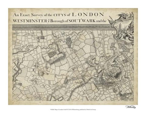 Framed Map of London Grid II Print