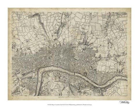 Framed Map of London Grid VII Print