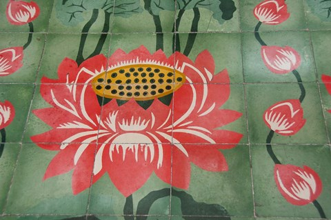 Framed Detail of temple lotus flower tile floor, Island of Penang, Malaysia Print