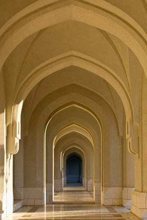 Framed Oman, Muscat, Walled City of Muscat. Arabian Arches by the Sultan's Palace Print