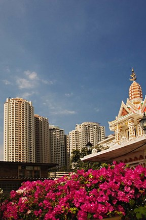 Framed Prayer house and high-rise condominiums, Bangkok, Thailand Print