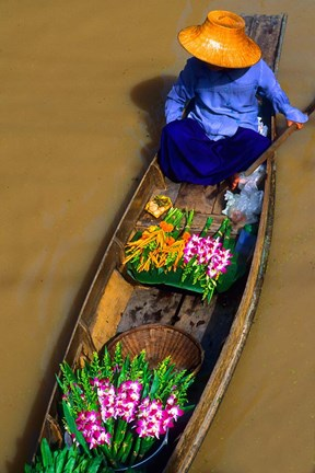 Framed Floating Market at Damnernsaduak near Bangkok Thailand (MR) Print