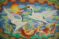 Taiwan, Peimen, Nankunshen Temple, Ceiling mural of cranes and catfish  Fine Art Print