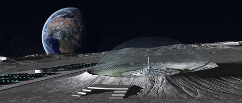 Framed domed crater is home to a lunar city Earth rises in the background Print