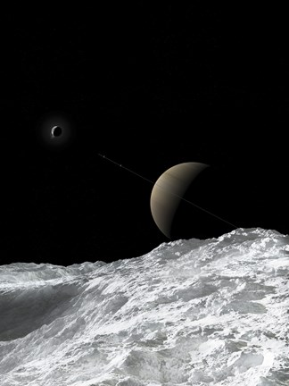 Framed Saturn and Enceladus as seen from the moon Tethys Print