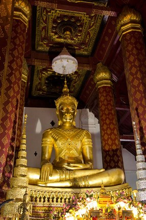 Framed Bronze cast seated Buddha covered in gold, Wat Na Phramane, Ayuthaya, Thailand Print