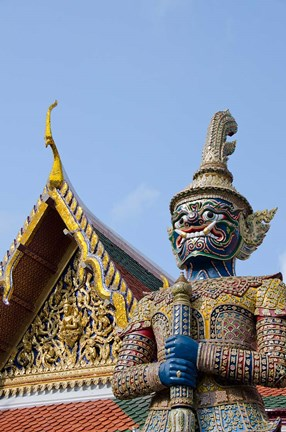 Framed Statue at The Grand Palace, Bangkok, Thailand Print