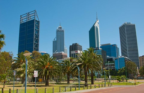 Framed Skyline of new buildings, Perth, Western Australia Print