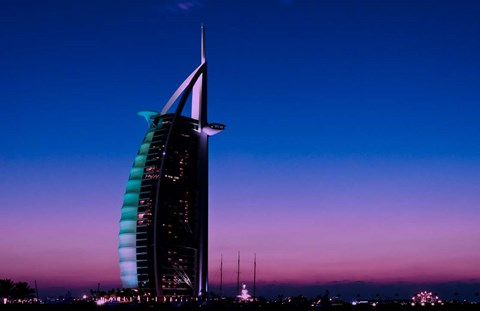 Framed Sunset at the Burj Al Arab, Dubai, United Arab Emirates Print
