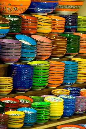 Framed Bowls and Plates on Display, For Sale at Vendors Booth, Spice Market, Istanbul, Turkey Print