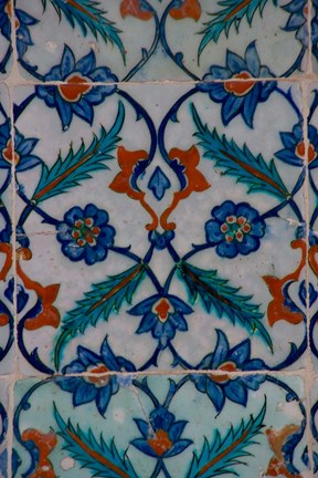 Framed Colorful Tile Work in the Topkapi Palace, Istanbul, Turkey Print