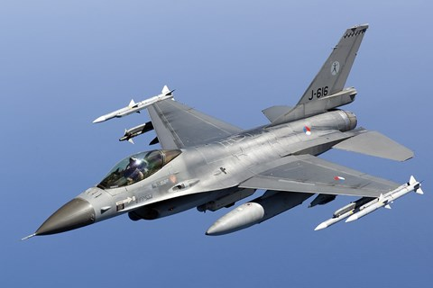Framed Dutch F-16AM Over the Mediterranean Sea (close up) Print