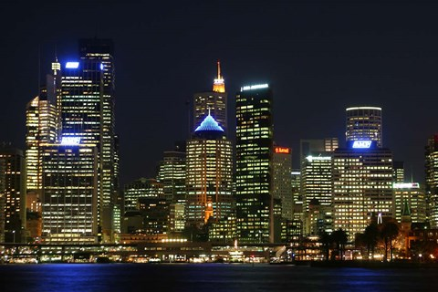 Framed Sydney CBD at Night, Sydney Cove, Australia Print
