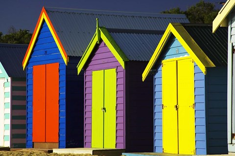 Framed Bathing Boxes, Middle Brighton Beach, Port Phillip Bay, Melbourne, Victoria, Australia Print