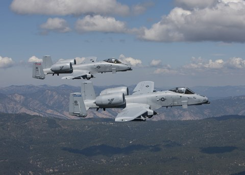 Framed Two A-10 Thunderbolt's Fly over Mountains in Central Idaho Print