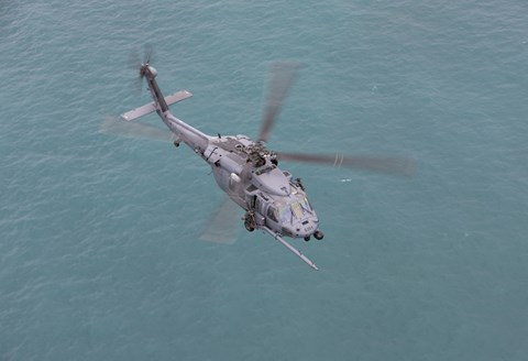 Framed HH-60G Pave Hawk Along the coastline of Okinawa, Japan (from above) Print
