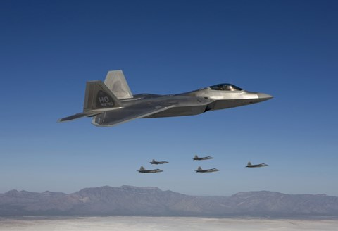 Framed F-22 Raptors Fly in Formation Over New Mexico Print